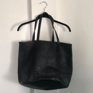 J. CREW 100% LEATHER PERFORATED HEART TOTE